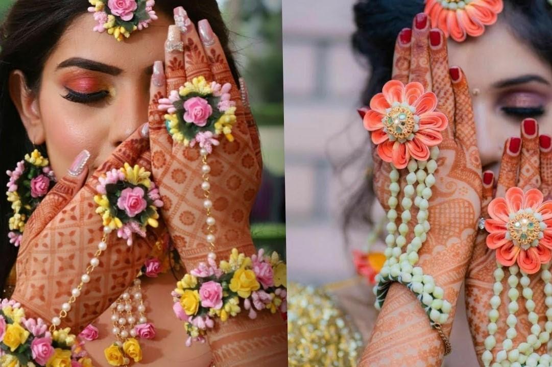 15+ Trending Floral Jewellery Designs for Bride in Haldi and Mehandi Ceremony