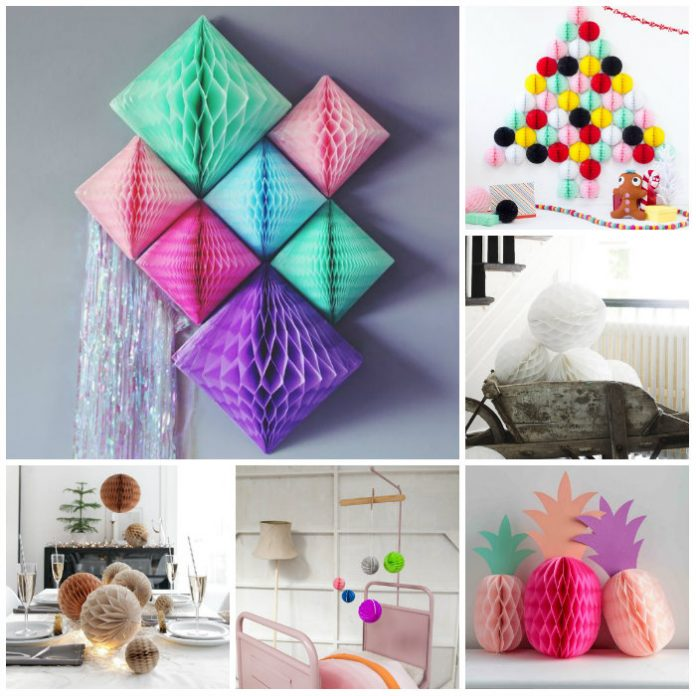 Honeycomb Pom Pom Decoration - 20+ Ideas