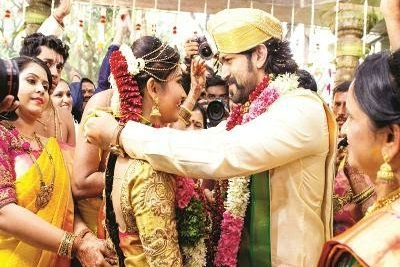 South Indian Superstar Yash ties knots with his girlfriend Radika Pandit in Bangalore.