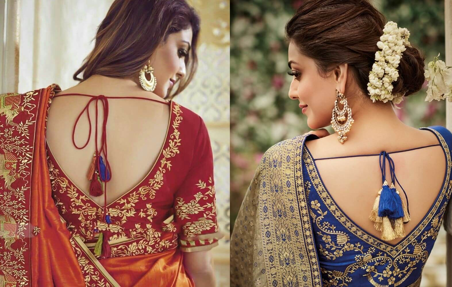 25+ New and Latest Saree Back Blouse Designs Images 2020