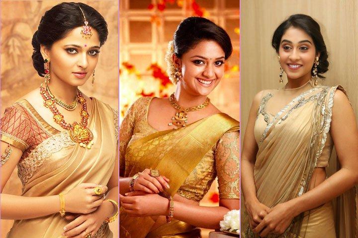 20+ Golden Saree Designs for An Elegant Bridal Look 2021