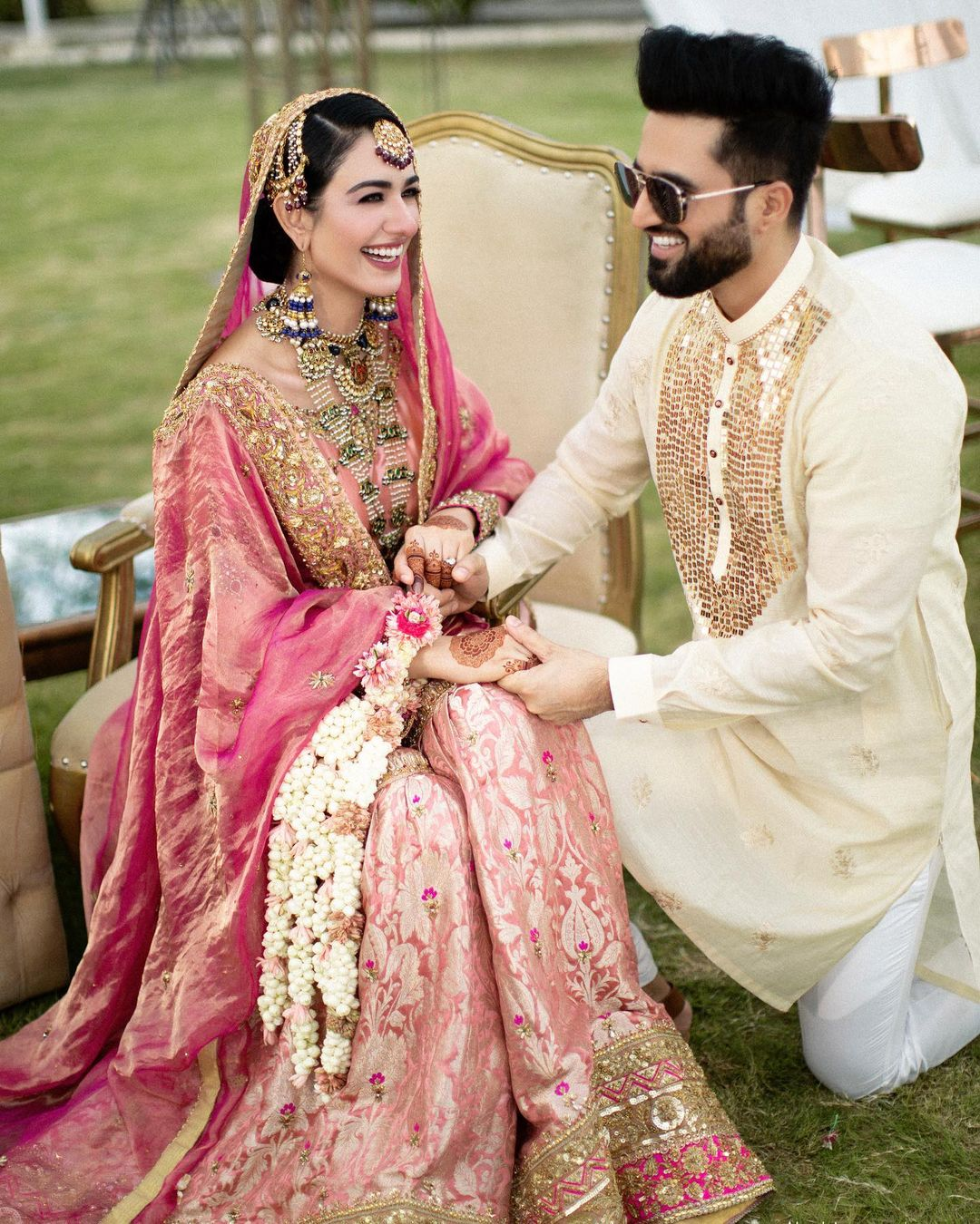 Pakistani Singer Falak Shabir and Actress Sara Khan's Royal Muslim Wedding