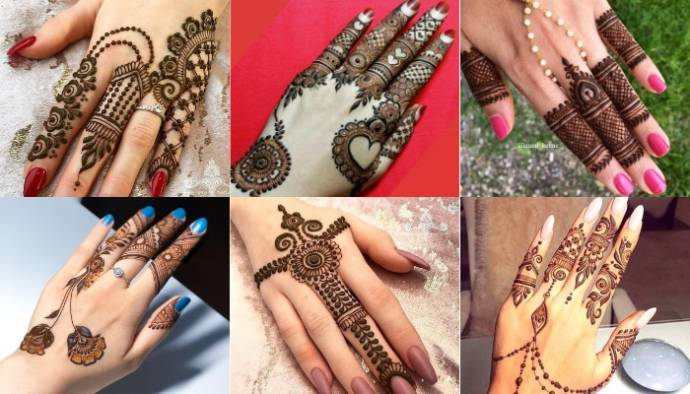 Simple, Easy and New Finger Mehndi Design for  Hand Front and Back